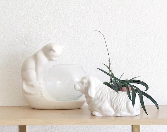 ceramic white sheep lamb flower pot planter / gift for gardener