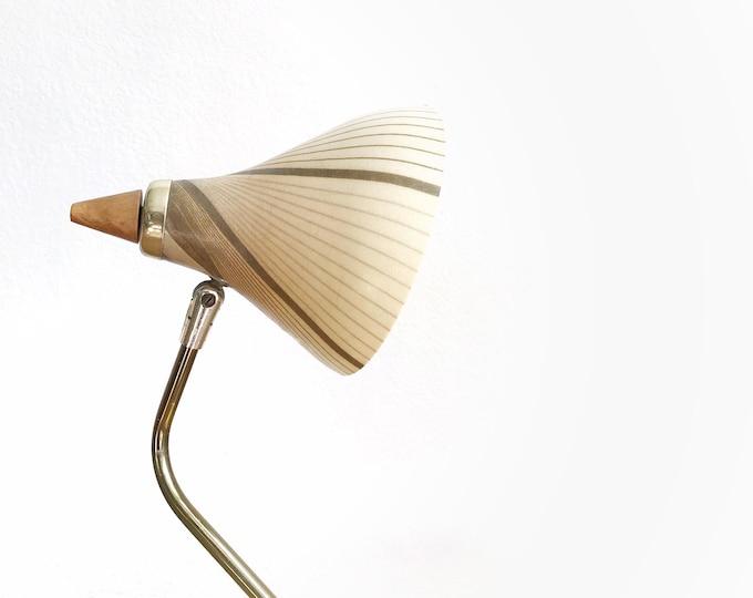 mid century modern beige brown goose neck lamp with fiberglass shade