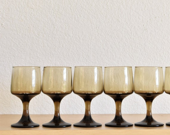 mid century modern stemmed smoky brown cocktail drinking glasses / tumbler set of 5
