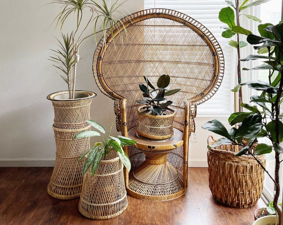 mid century woven bamboo rattan wood wicker plant stand | basket table