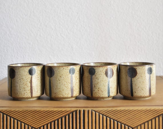 retro polka dotted stoneware speckled brown brown blue japanese tea cup tumbler set of 4 / drinking cup collection / gift barware