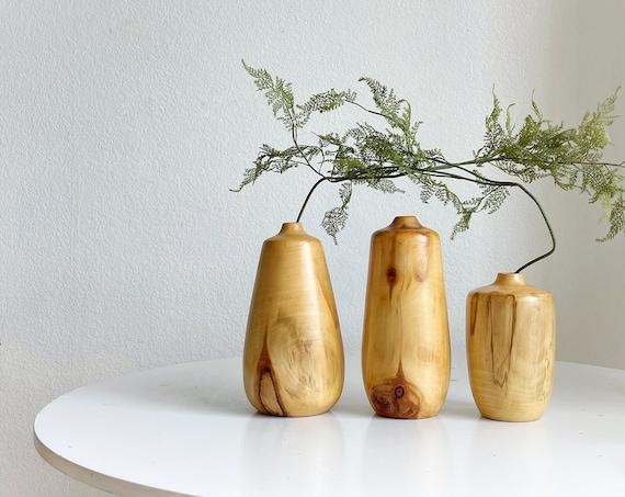 mid century modern turned aspen wood vase sculptures | bud vases