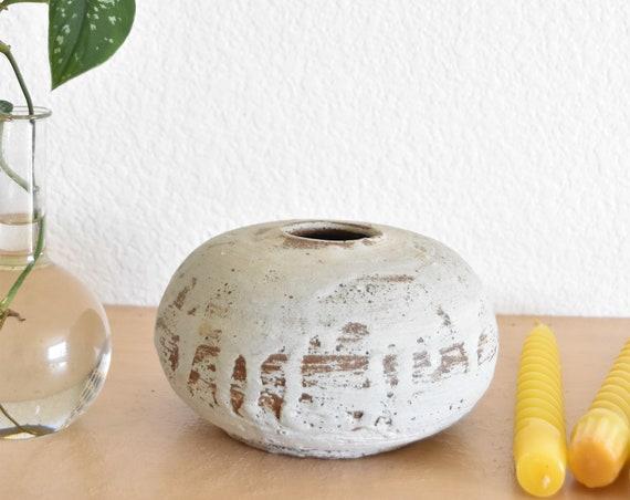 orb earth tone white brown stoneware vase flower pot / vessel / pottery