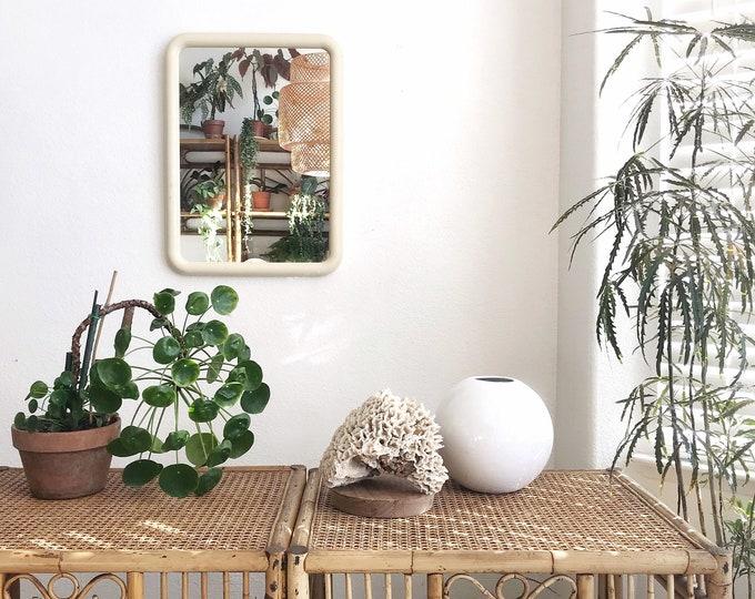 rectangular cream white 80s revival wall hanging mirror