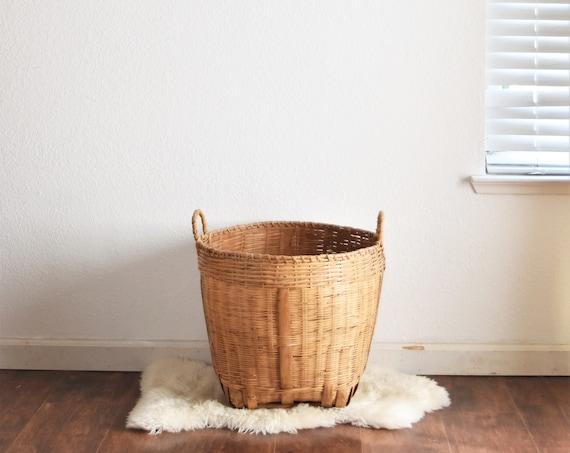 large wide vintage woven rattan wicker basket planter / flower pot