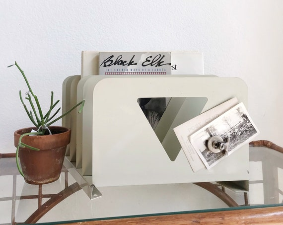 mid century grey industrial metal divider office paper file / mail sorter organizer