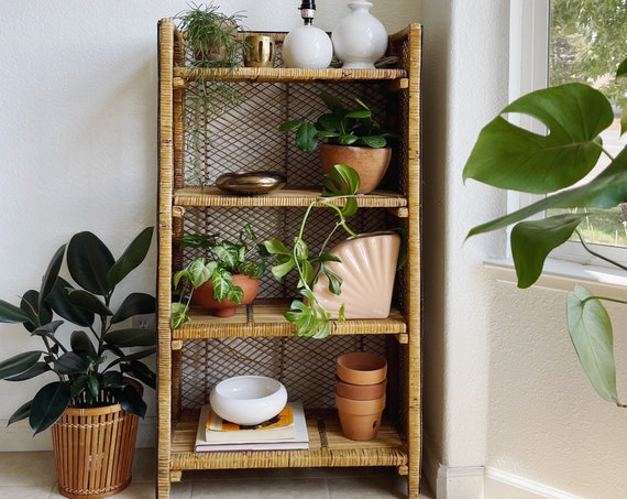 Reserved    mid century folding tiered woven rattan bamboo rattan accent shelf / bookcase