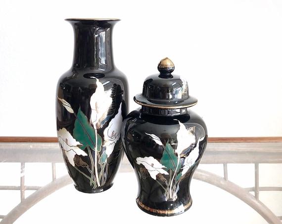 vintage black Japanese lily ceramic pottery flower vase and ginger jar | housewarming gift gift set