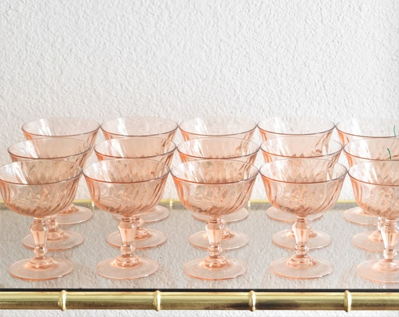 set of 4 vintage french pink swirl champagne drinking glasses / depression glass goblets / france