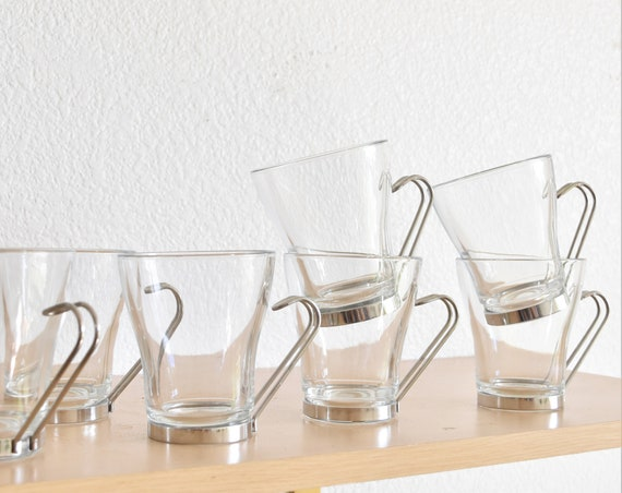 mid century modern clear glass metal insert coffee cups / mugs / set of 8 or set 5