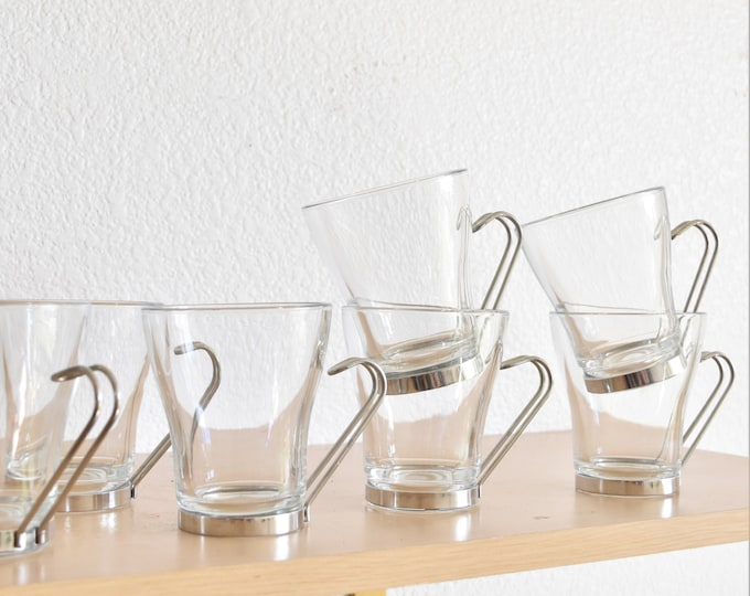 mid century modern clear glass metal insert coffee cup mugs / drinking tumblers / set of 8 or set 5