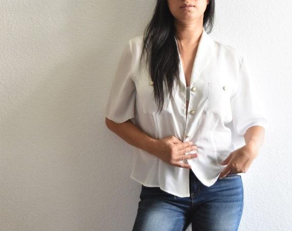 women's vintage loose white button up secretary shirt blouse
