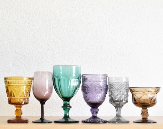 mix collection multicolored blue purple glass champagne wine glass goblets | depression glass set of 6 | wedding decor