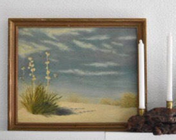 vintage blue painting of sandy beach landscape with flowers