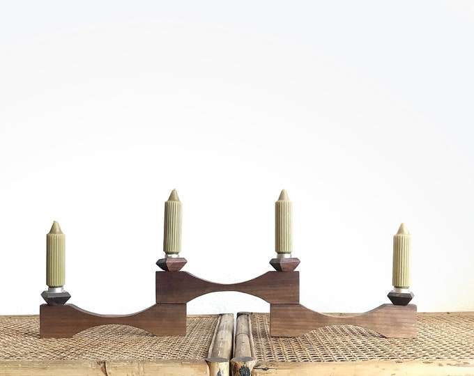 large folding mid century modern wooden danish candelabra / candlestick holders / minimalist scandinavian decor