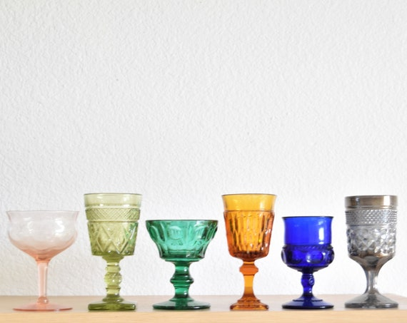 mix collection of 6 multicolored glass champagne wine glass goblets / depression glass set