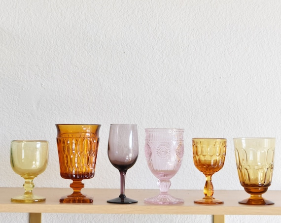 mix collection multicolored glass champagne wine glass goblets / depression glass set of 6