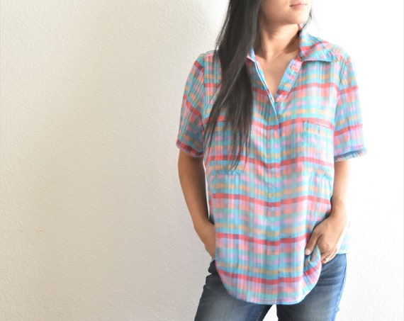 women's loose vintage grunge plaid pink blue button up shirt blouse | the boyfriend shirt