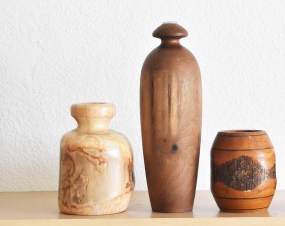mid century modern aspen wood candleholder / bud vase sculpture