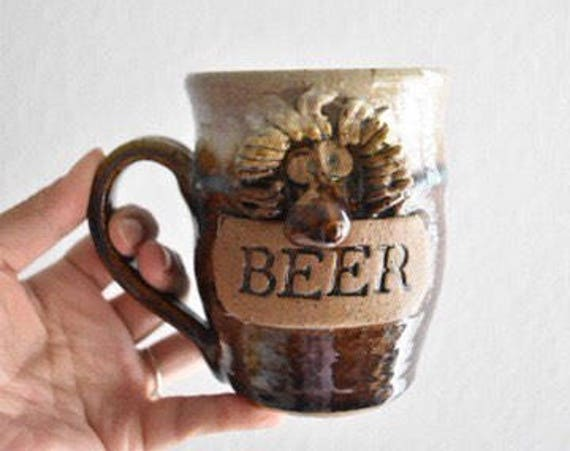 funny face hand thrown stoneware beer coffee mug / pottery sculpture