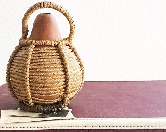 handmade natural gourd water bottle flower vase | boho home decor