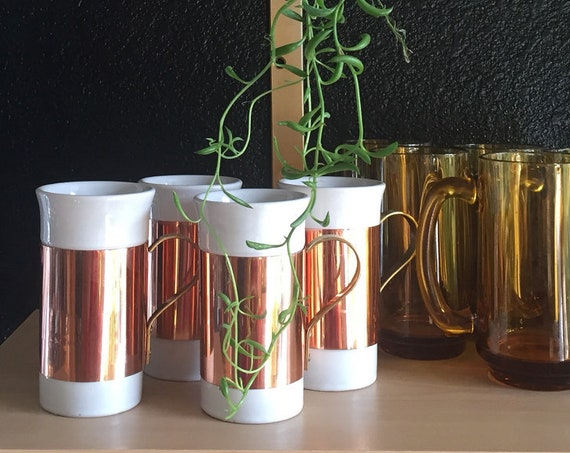 hollywood regency copper ceramic cups / barware mugs / tumblers / box set of 4