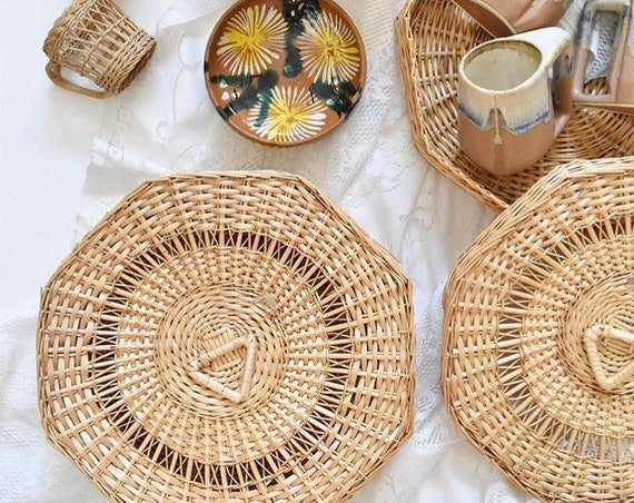 large octagon shaped woven wicker basket trinket gift box with lid / geometric