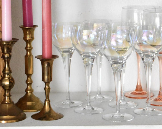 set of 6 iridescent stemware champagne glasses / barware