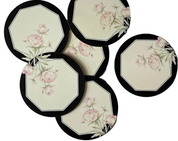 vintage round set of 6 pimpernel table placemat | black flower design