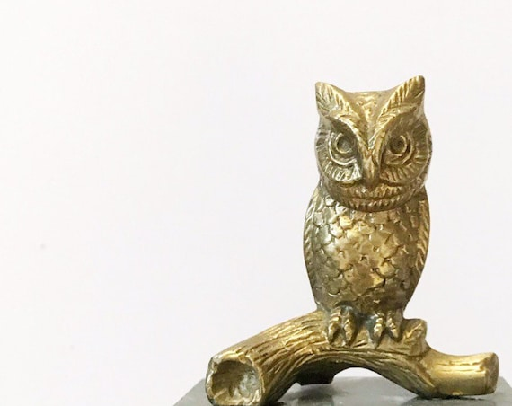 mid century whimsical solid brass owl figurine on marble base | office paperweight