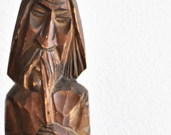 "12"" hand carved solid wood man bust sculpture statue figurine / musical"