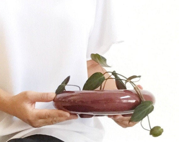 vintage shallow round maroon ceramic planter flower pot | orb vase