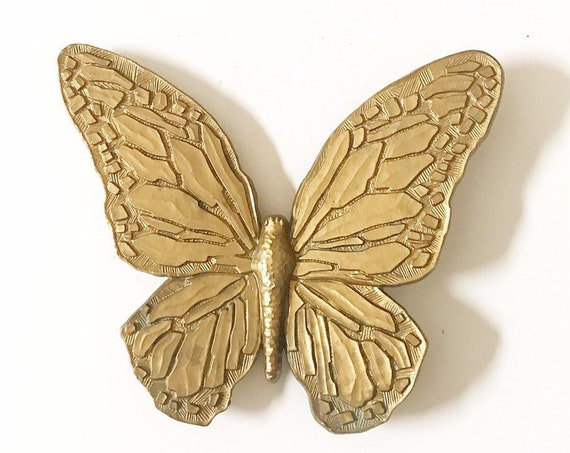 vintage geometric modern wall hanging gold butterfly wall art / ornate butterfly figurine