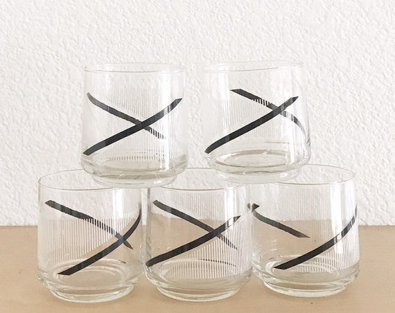 mid century retro set of 5 striped black low ball glass tumblers cocktail drinking cups / gift barware