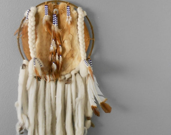 vintage large native american indian dreamcatcher bohemian wall hanging / leather / fur