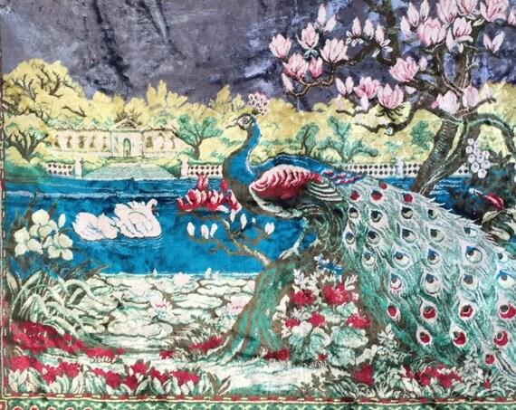mid century large vintage turkish velvet peacock wall hanging carpet tapestry / kilim rug wall hanging
