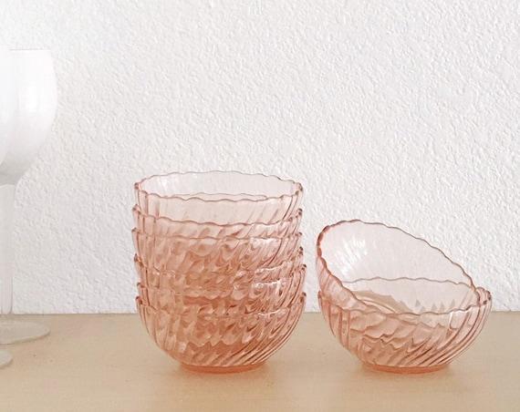 mid century arcoroc pink swirl bowl set   cereal dessert bowls