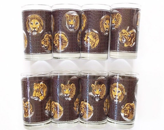 mid century modern safari libbey lion cheetah drinking cocktail glass set / gift barware