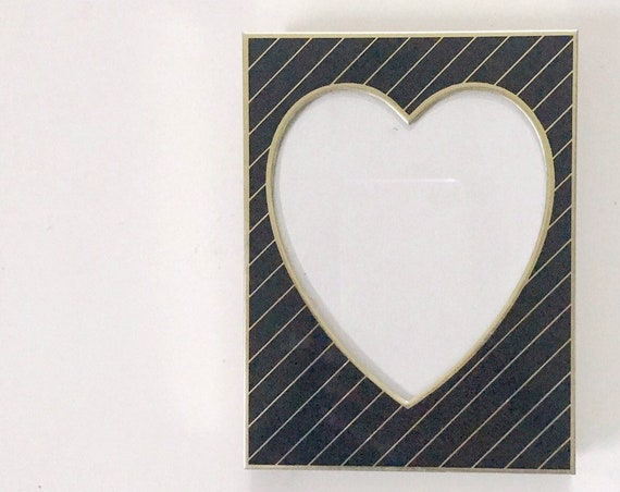 vintage black brass heart picture standing frame / Valentine's Day card gift