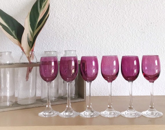 set of 6 pink plum glass cordial cocktail glasses / dessert wine glasses