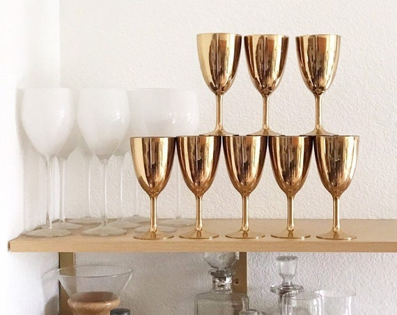 hollywood regency copper brass goblet set with silver | housewarming wedding gift