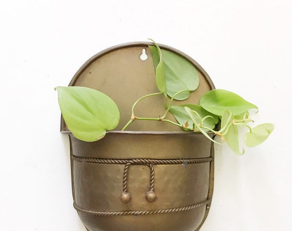 small brass wall hanging pocket planter | flower garden pot | indoor container