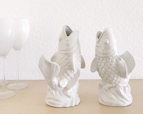 set of 2 white ceramic fish figurine vases | pair of fishes flower pots