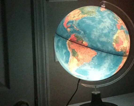 "12"" rand mcnally vintage illuminated light up world globe lamp / night light"
