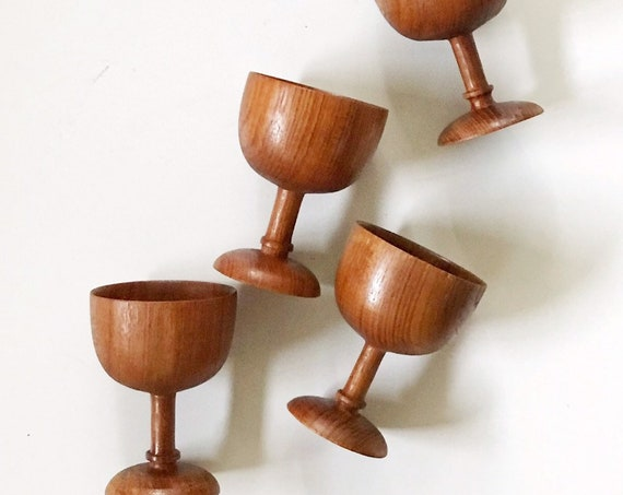 carved danish teak turned wood goblet drinking cup set