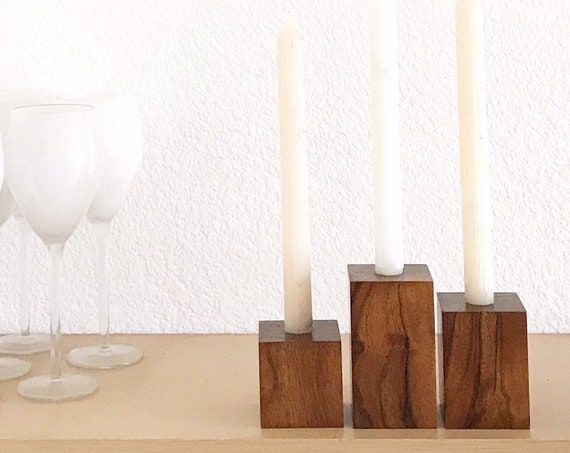 mid century modern cubed wood candleholder set of 3 | candlestick holders