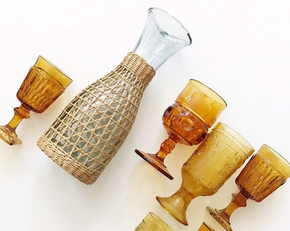 boho bohemian tall woven straw glass flower vase | propagation bud vase