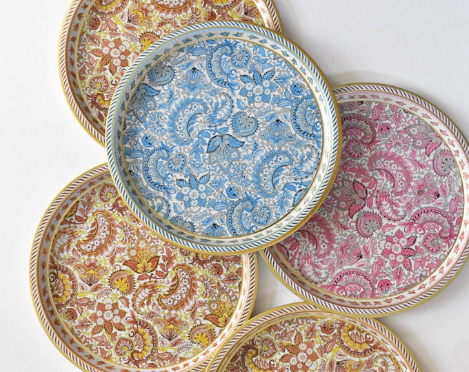 decorative metal round tin plate / floral and paisley / vienna woods england tray / gold yellow