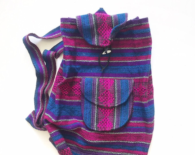 purple blue striped hippie boho backpack school bag / mexican carry on travel bag