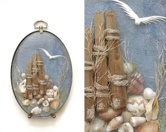 framed vintage seashell terrarium collage art | oval convex picture frame